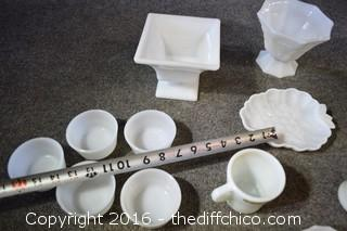 13 Pieces of Milk Glass
