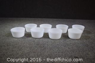 8 Milk Glass Custard Cups
