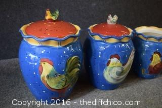 Rooster Canister Set - 1 Lid Missing