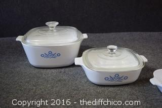 3 Corning Ware Cornflower Pattern Cookware & 2 Lids