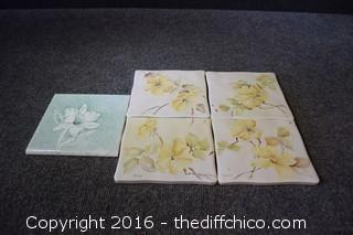 5 Hand-Painted Tiles