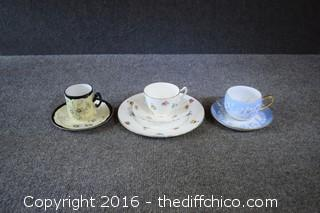 3 Cups & Saucers - One Set w/Plate - 7 Pieces