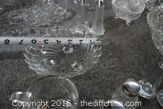 Glass Lot-Platters, Bowls, Dishes, Salt & Pepper Shakers