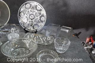 Glass Lot-Platters, Bowls, Dishes, Salt & Pepper Shakers