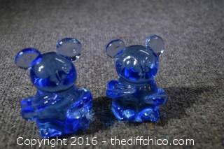 2 Hand Blown Glass Bears