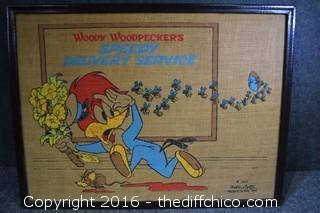 Vintage Woody Wookpecker 1973 Burlap Print