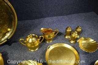 Vintage Pickard China Gold Dishes & Metal Tray