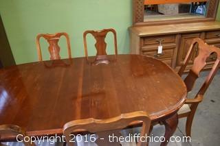 Table w/6 Chairs & 1 Leaf-Needs Refinishing