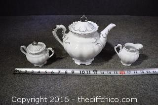 Vintage Teapot, Cream & Sugar Set