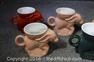 9 Vintage Donkey Frankoma Cups