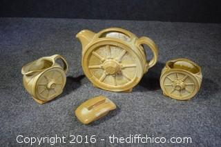 Frankoma Wagon Wheel Pitcher, Cream & Sugar Set