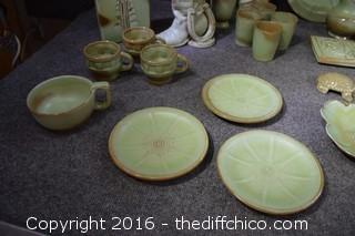 Lot of Green Frankoma Pottery - 31 Pieces