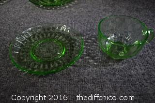 6 Green Depression Glass Cup & Saucer Sets