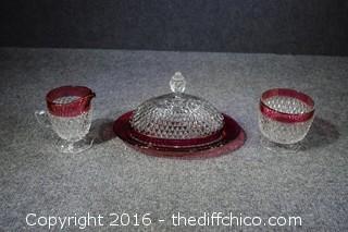 Red Glass Cream, Sugar & Dish