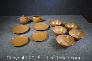 12 Pieces Frankoma Pottery - 2 Minor Chips
