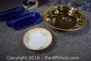 Mixed Lot - Purple Glass Items, Cobalt Blue & More