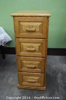 Oak 4 Drawer File Cabinet w/no Key