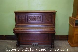 Vintage Mahogany Vose & Sons Upright Boston Cabinet Grand Piano
