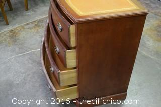 Mahogany Leather Top 4 Drawer Cabinet