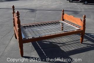 Vintage Wood Bed-Headboard, Footboard, Wood Rails & Bed Springs