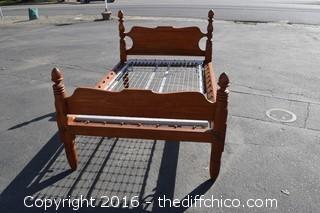 Vintage Wood Bed-Headboard, Footboard, Wood Rails & Bed Springs