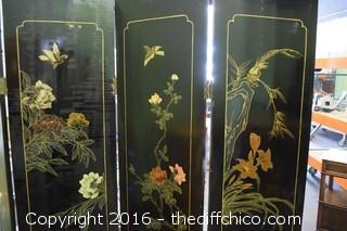 Vintage Oriental 4 Panel Screen-Soapstone one side - Painted on other side