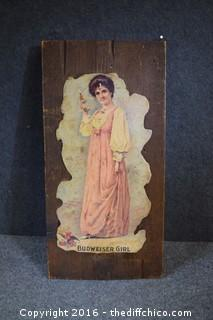 Vintage Victorian Budweiser Girl on Anheuser-Busch Wood