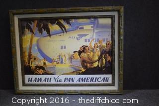 Vintage Rare Framed Hawaii Via Pan American Poster