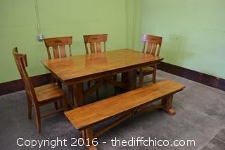 Table, 4 Chairs & Bench
