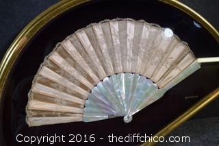 Framed Vintage Fan w/Mother of Pearl