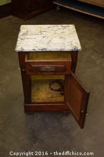 Vintage Walnut MarbleTop Night Stand