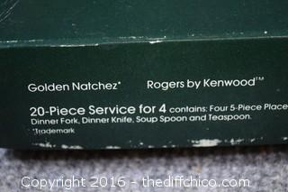 2 Boxes of 20 Piece Service for 4 of Golden Natchez Flatware