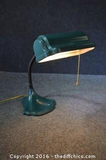 Vintage Cast Iron Base Desk Lamp - 20in Tall
