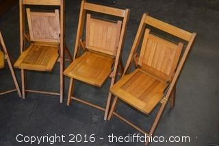 4 Folding Wood Children Chairs