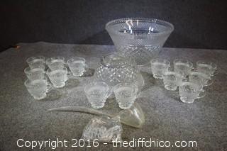 Punch Bowl w/Ladle, Hooks, & 14 Cups