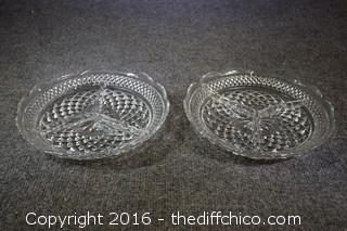 2 Divided Glass Dishes
