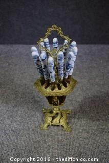 Rare Uchatiusbronce Blue & White Porcelain Knives from Germany w/Holder