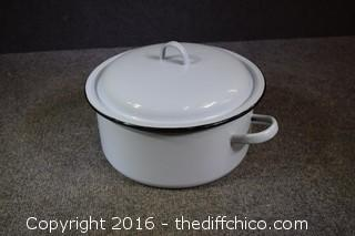 Vintage Light Blue Enamel Pot w/Lid