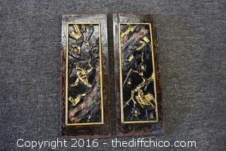 Pair of Hanging Carved Wall Plaques