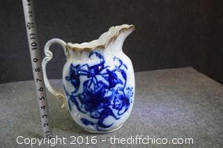 Broken Blue & White Pitcher-Could be used for flower vase