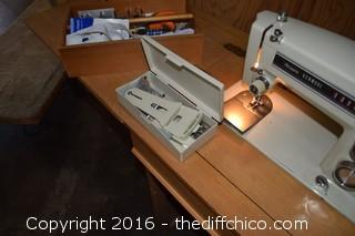 Working Kenmore Sears Sewing Machine in Cabinet w/Pull Out Chair & Contents