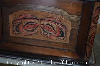 Vintage Indian Carved Trunk - no key