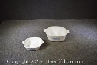 2 Cornflower Pattern Corning Ware Dishes