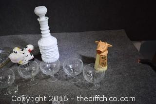 Mixed Lot-4 Glasses, Platter, Salt Dish & Spoon & More