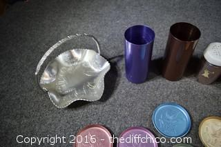 Lot of Aluminum 14 Pieces-Baskets, Tumblers, Coasters & More
