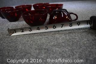 7 Vintage Ruby Red Cups