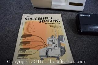 Working White Super Lock Sewing Machine Model #228 by Jaquar