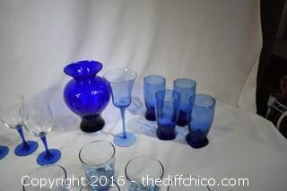 26 Pieces of Cobalt Blue Glassware & More