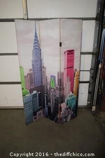 3 Panel City Scene Screen