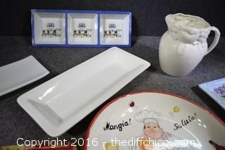 Serving Dishes, Pitcher & More